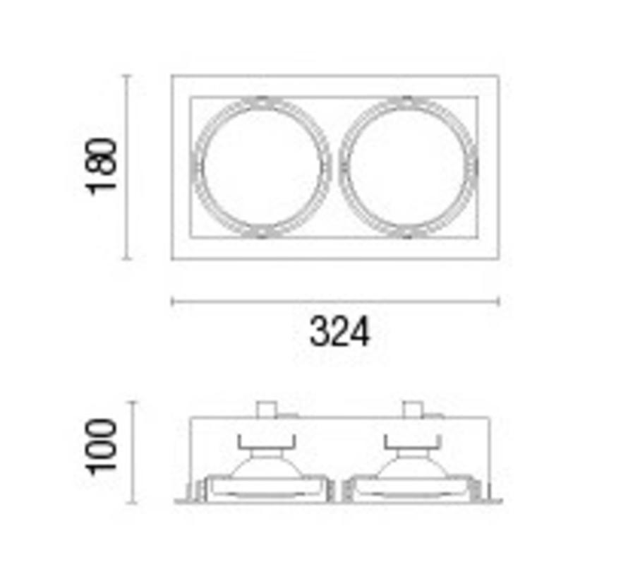 Multidir Trim richtbare inbouwspot led voor 2 x AR111-G53 ledlampen