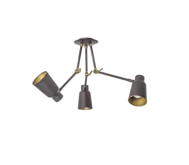 Funk 3-armige plafondlamp bruin/goud