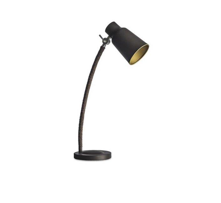 Funk tafellamp bruin/goud verstelbaar E-27