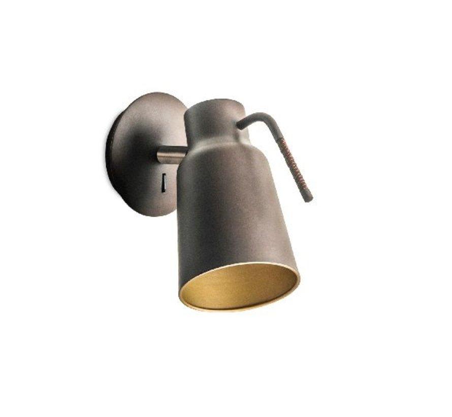 Funk wandlamp bruin/goud verstelbaar E-27