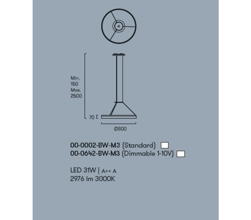 Circ led hanglamp Ø800mm wit