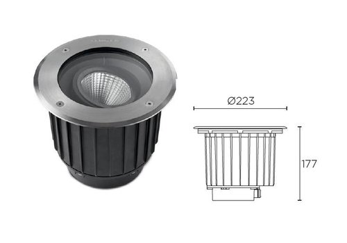 Leds-C4 Gea COB Led grondspot 23Watt richtbaar RVS 2317lm