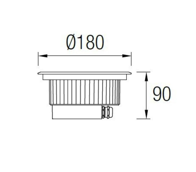 Gea RGB Easy+ ronde grond inbouwspot 24V-11Watt richtbaar RVS