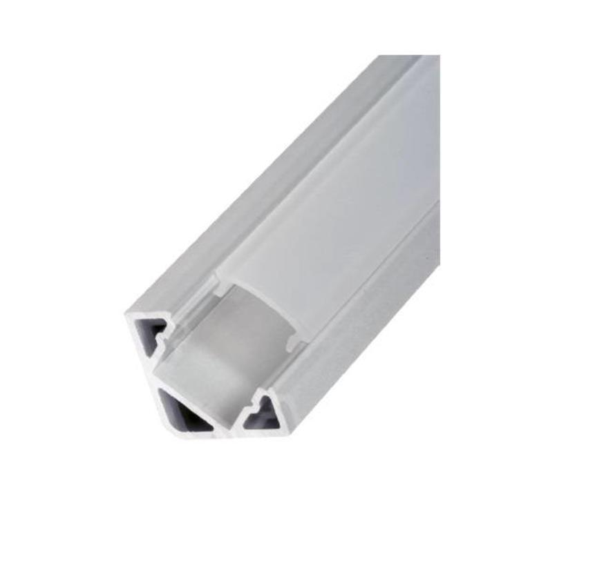 Corner 19x19mm alu ledprofiel, incl cover, eindkappen en montageclips