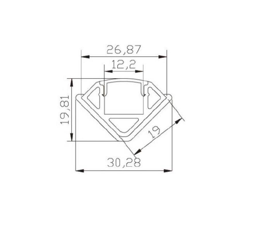 Corner 20mm alu ledprofiel, incl cover, eindkappen en montageclips