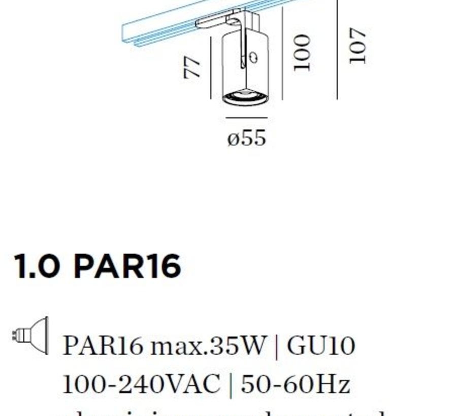 Sqube on track 1-fase 1.0 PAR16 230Volt GU10