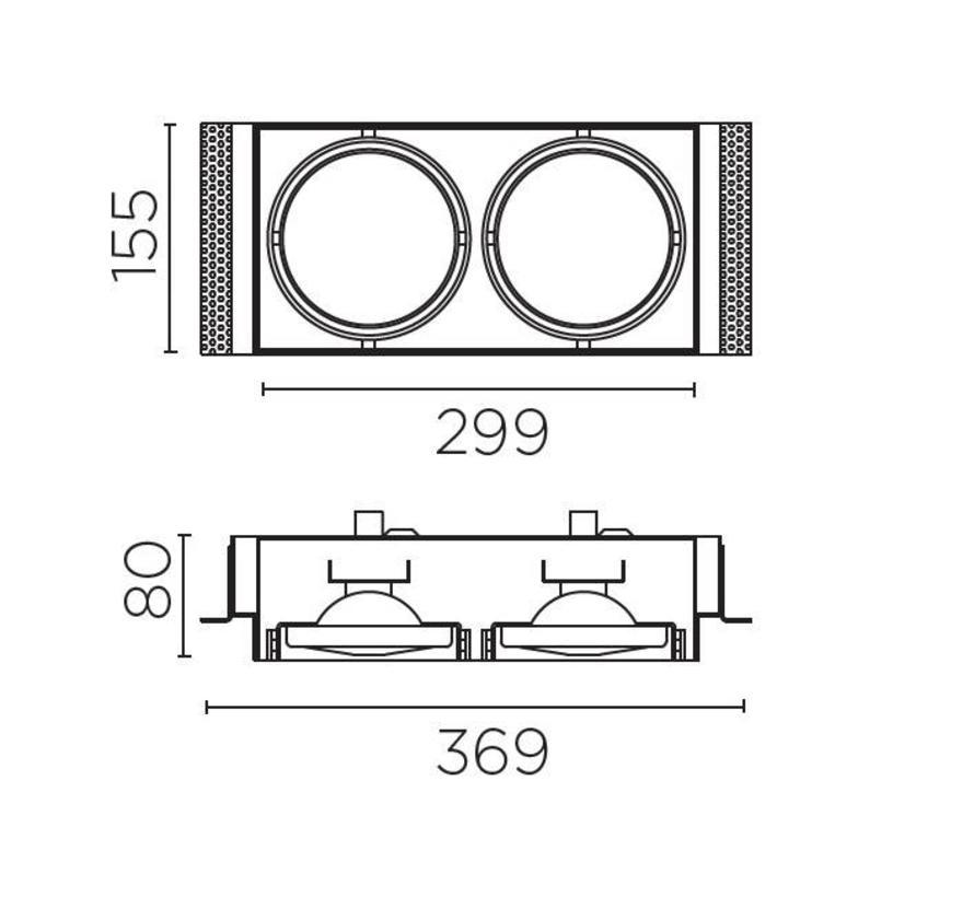 Multidir Trimless richtbare inbouwspot led voor 2 x AR111-G53 ledlamp