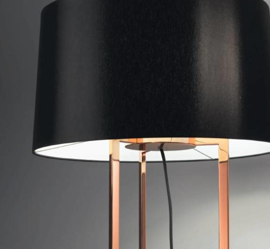Premium vloerlamp 3 x E-27 hoog 1568mm, Ø500mm in goud of koper