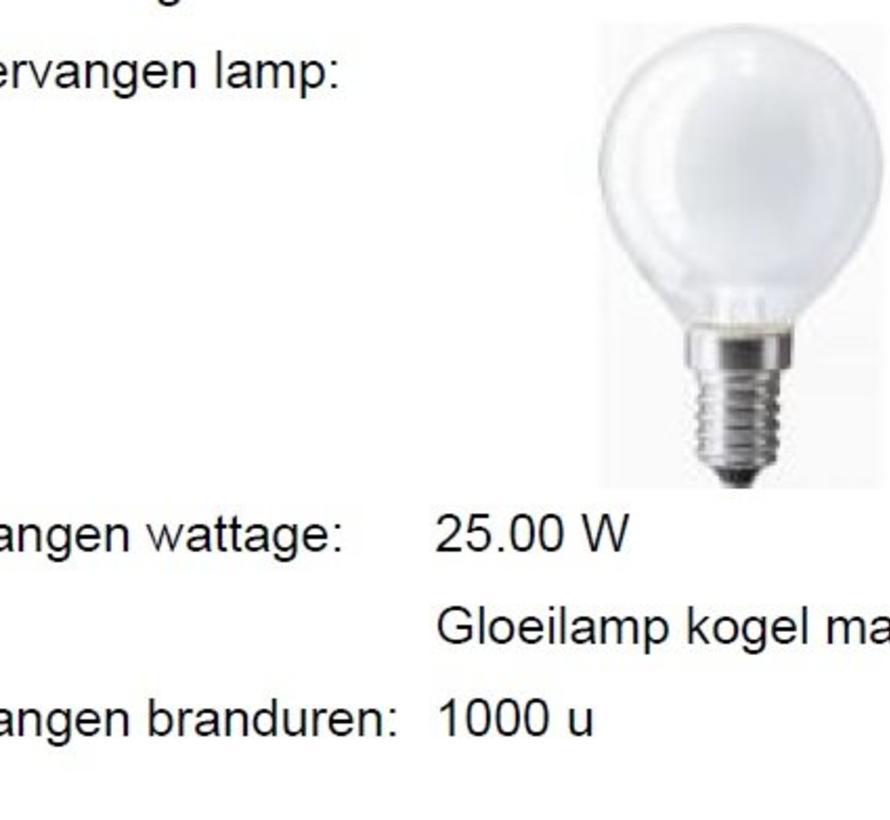 LED MM03927 kogellamp 2W (15W) 2800 E-14 op=op