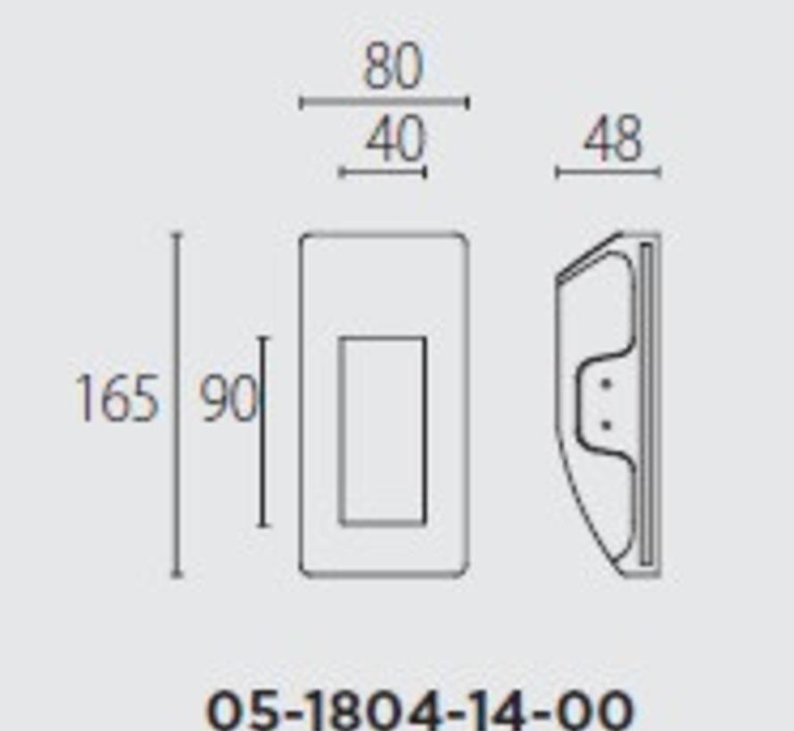 Secret rechthoekig trimless wand inbouw ledspot 350mA-2,4Watt-3000K
