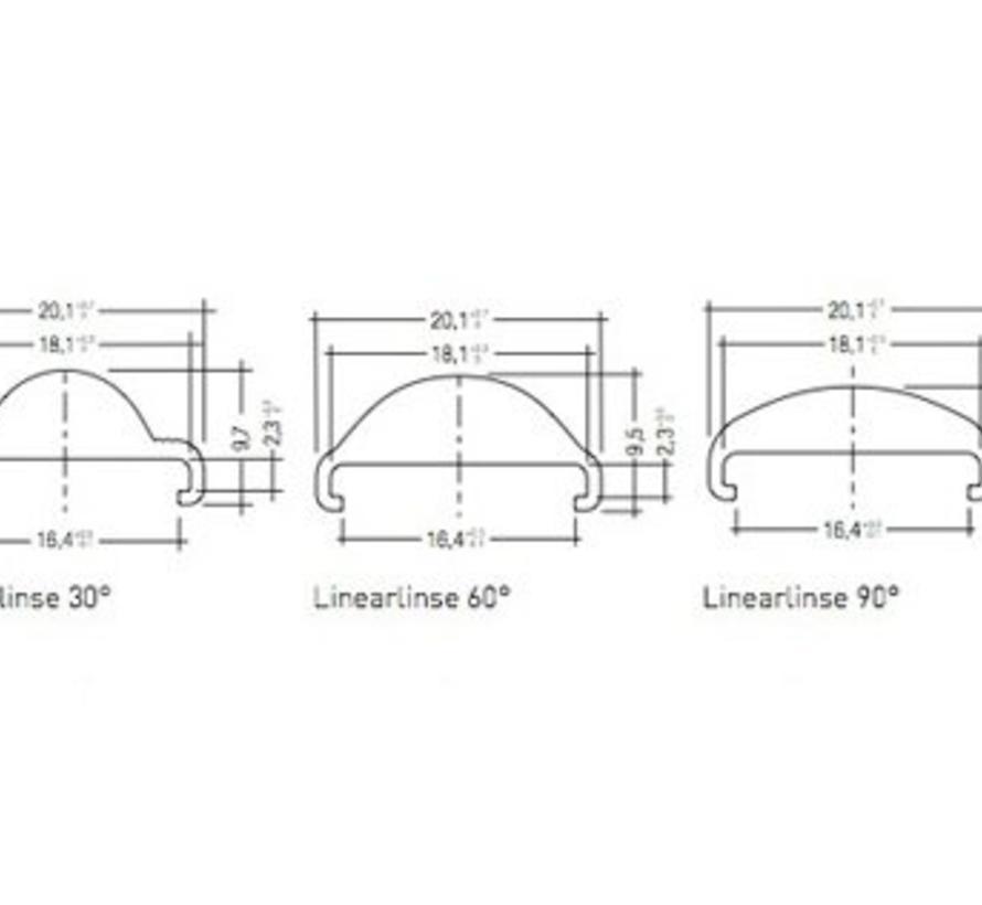 0200-2 lens cover lineair 60gr frosted 200cm voor Z201-2 profiel
