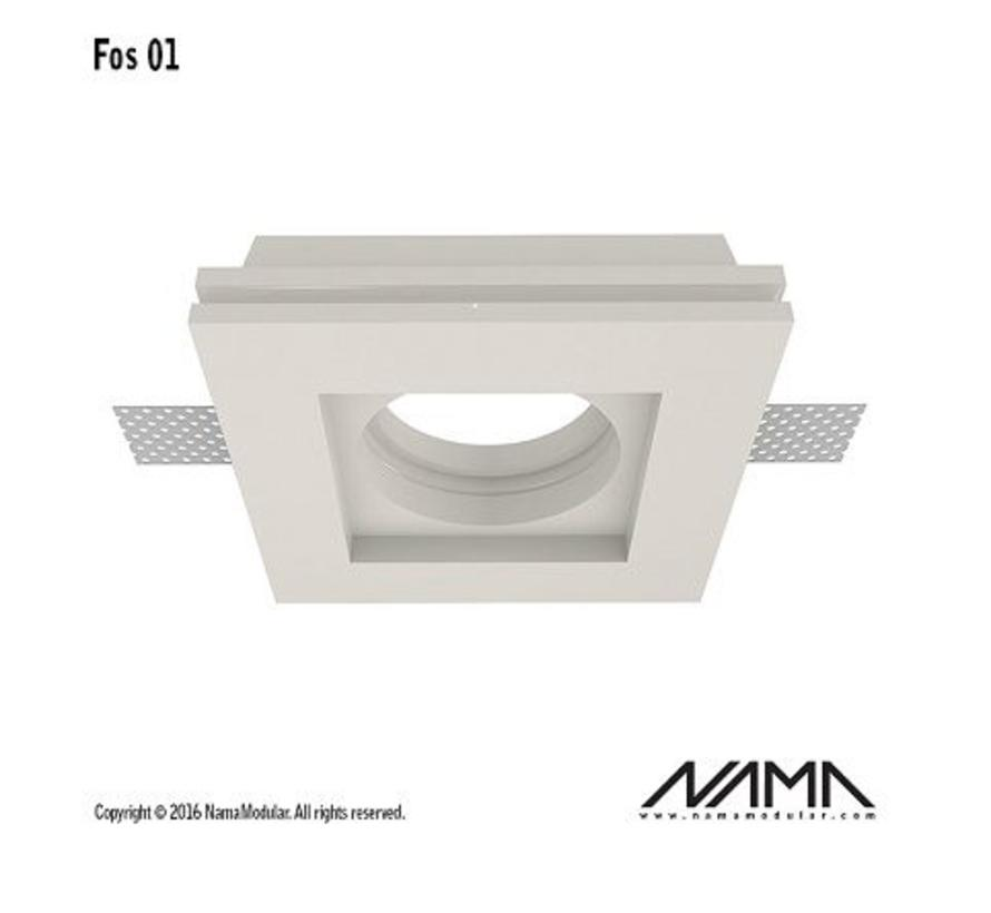 Fos01 trimless plaster recessed spot square for Ø50mm LED