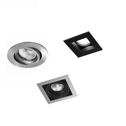 Recessed spotlights with visible edge for exchangeable LED lamp or COB LED module
