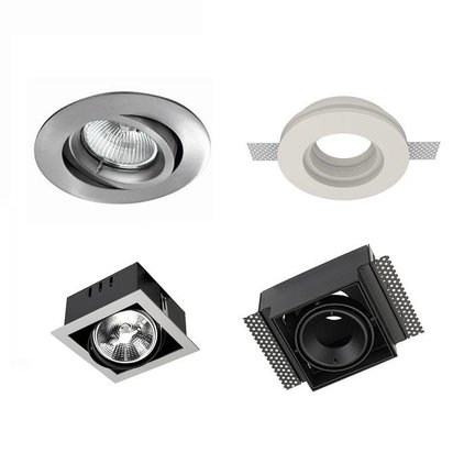 LED recessed spotlights are available with a border (TRIM) and borderless (TRIMLESS)
