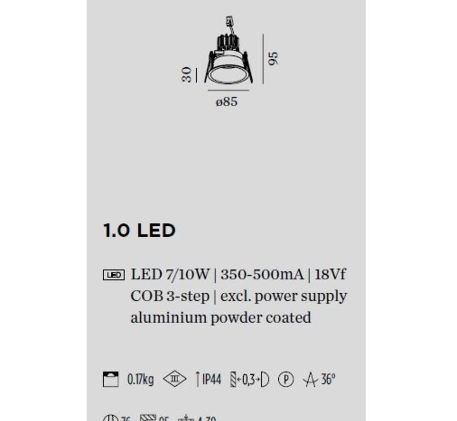 Deeper IP44 1.0 LED fixed and recessed LED recessed spot 7-10W 350-500mA