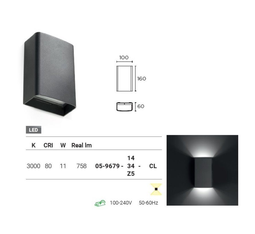 Clous Led up-down wall fixture 11W-3000K