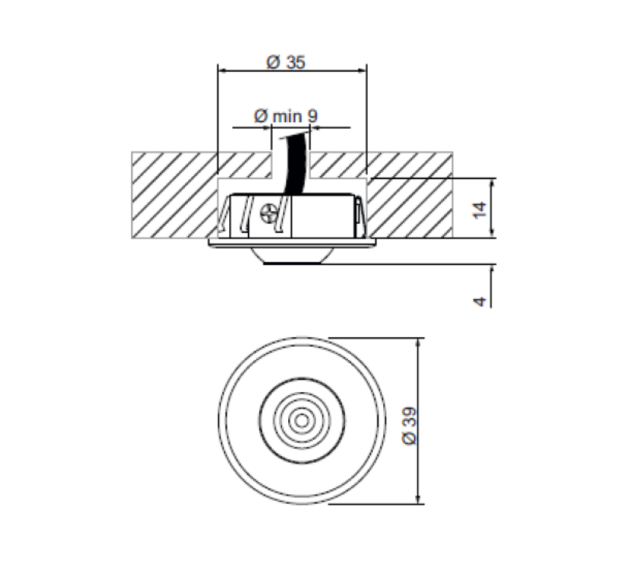 Vitrine richtbare ledspot 1Watt-350mA Ø39mm