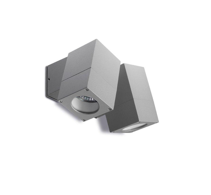 Icaro dubbele verstelbare led wandlamp 230Volt-2 x GU10 alu grijs