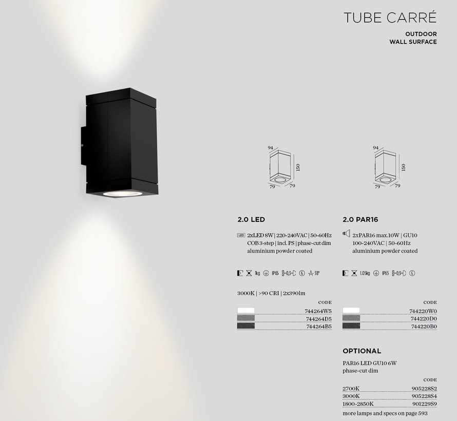 Tube Carre 2.0 LED outdoor up-down wandlamp 2x8Watt-3000K