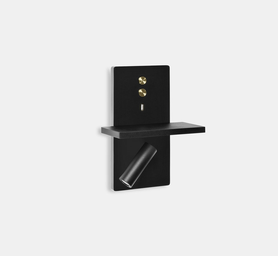 Elamp Led wandlamp met leeslamp en USB charger in wit of zwart