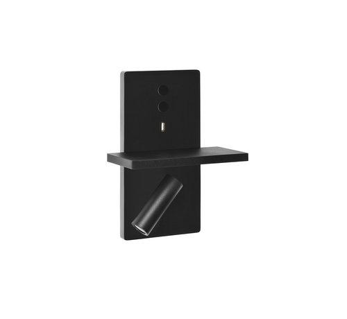 Leds-C4 Elamp Led wandlamp met leeslamp en USB charger in wit of zwart