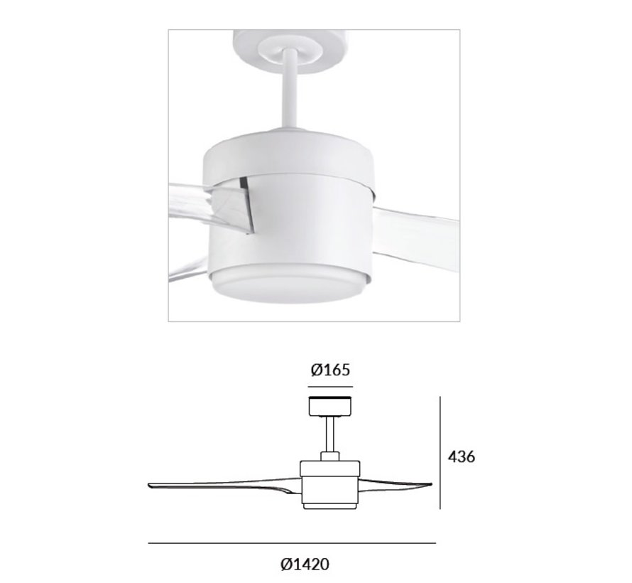 Tramuntana Outdoor Ø1420mm wit met 18,8W-3000K led verlichting