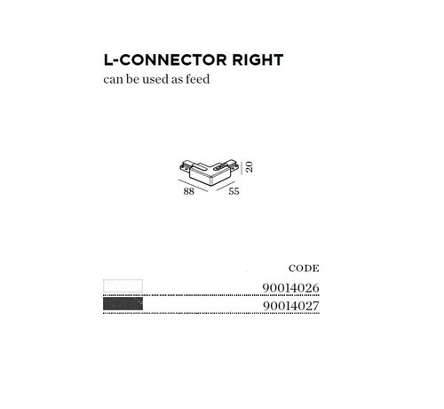 Wever & Ducre Track 1-fase L-connector rechts