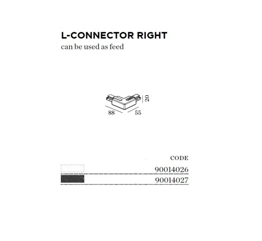 Track 1-fase L-connector rechts