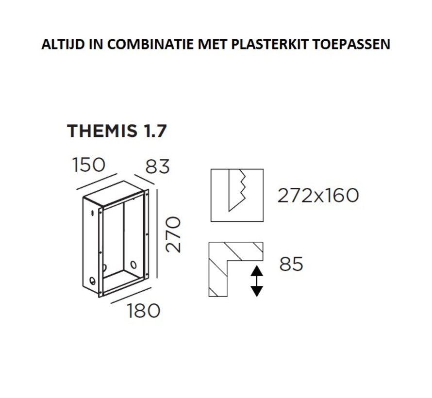 Muurinbouwbox (Recessed housing) voor Themis 1.7