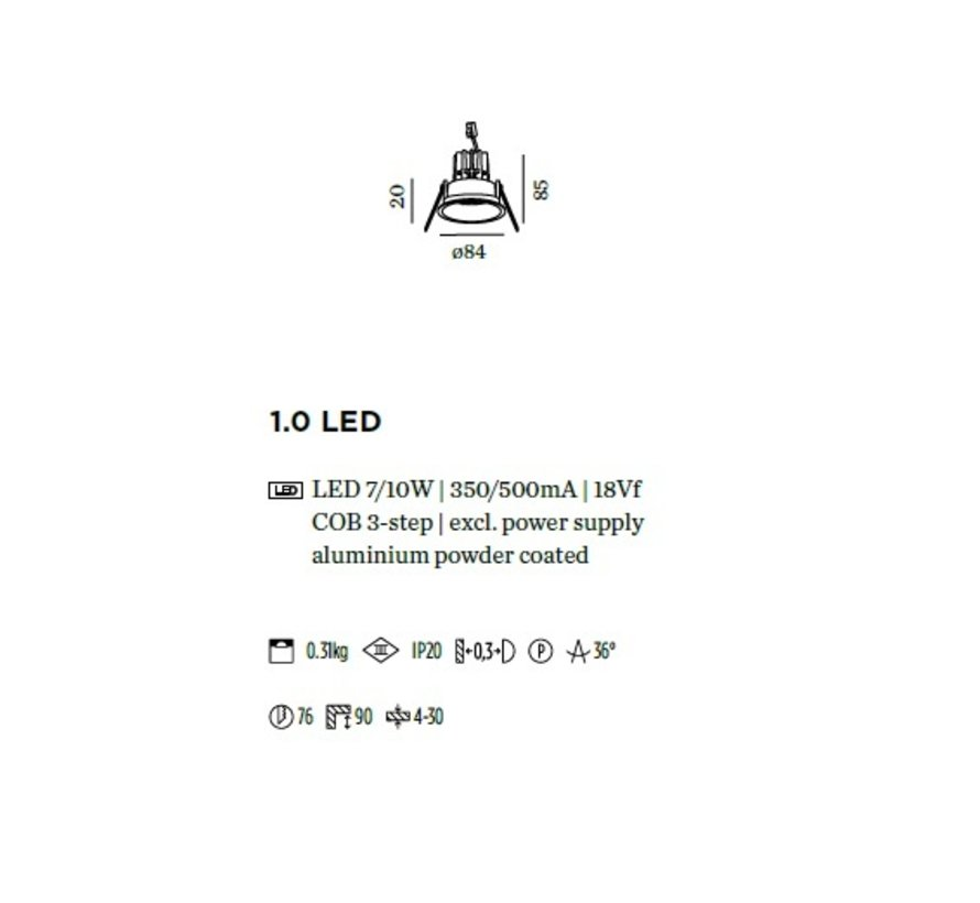 Deep 1.0 LED 7-10Watt vaste en verdiepte Led inbouwspot