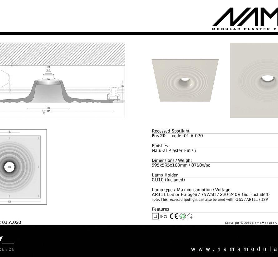 Fos 20 trimless gips inbouwspot rond voor Ø111mm ledlamp