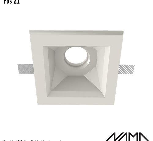 NAMA Fos 21 trimless gips inbouwspot verdiept vierkant voor Ø50mm led