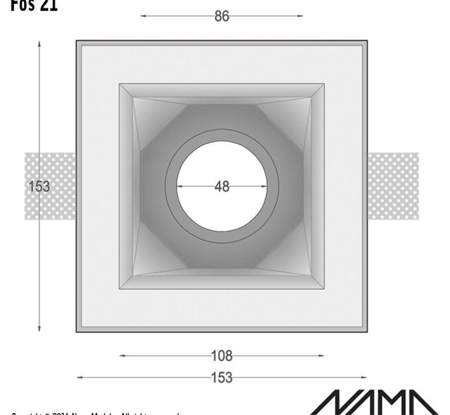 Fos 21 trimless gips inbouwspot verdiept vierkant voor Ø50mm led