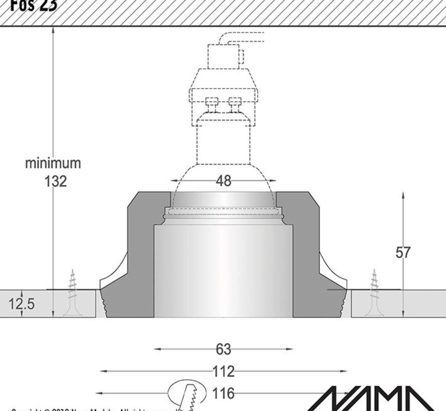 Fos 23 trimless gips inbouwspot verdiept rond voor Ø50mm led