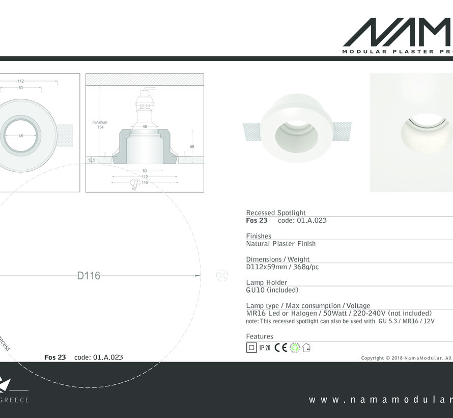 Fos23 trimless plaster spot recessed round for Ø50mm led