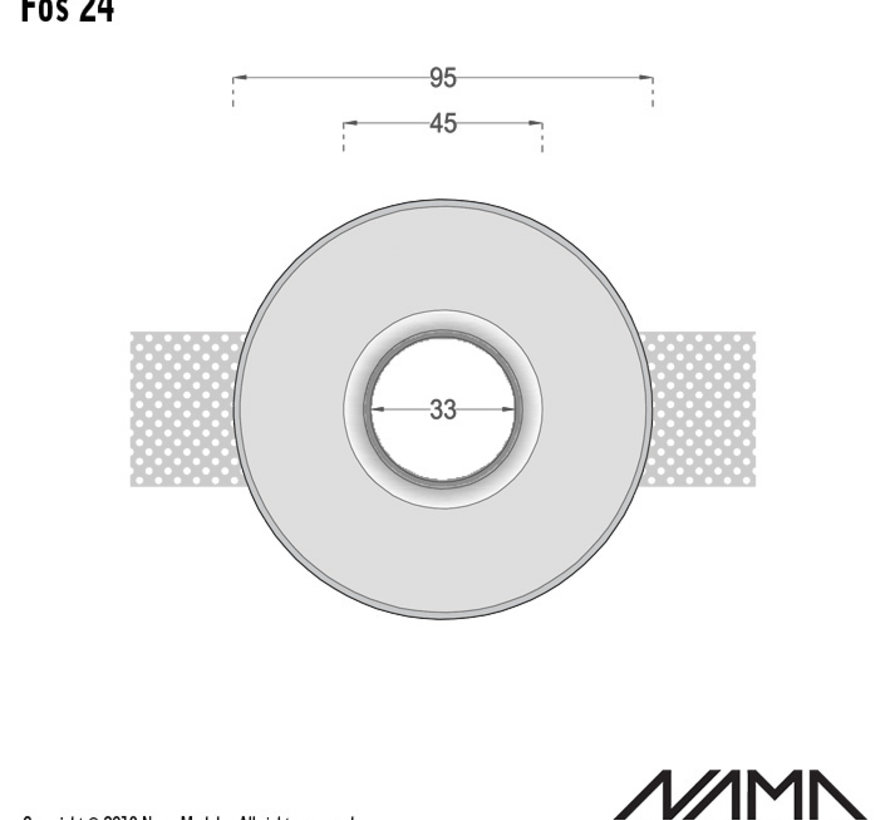 Fos 24 trimless gips inbouwspot verdiept rond voor Ø35mm led
