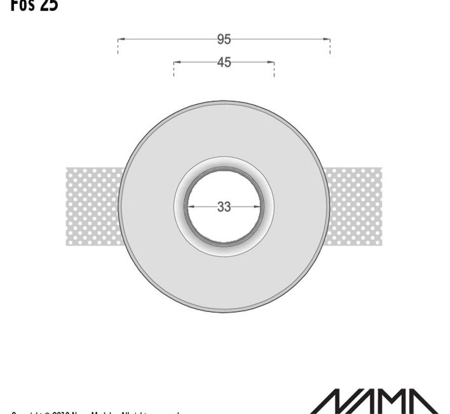 Fos 25 trimless gips inbouwspot verdiept rond voor Ø35mm led