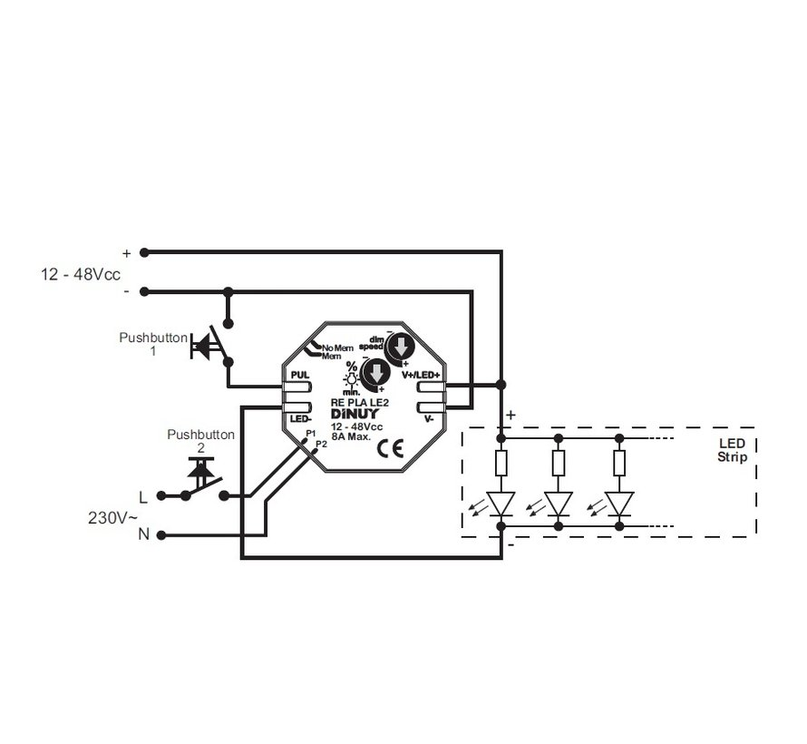 Dimmer RE-PLA-LE2 /PWM 12-48VDC / 8A
