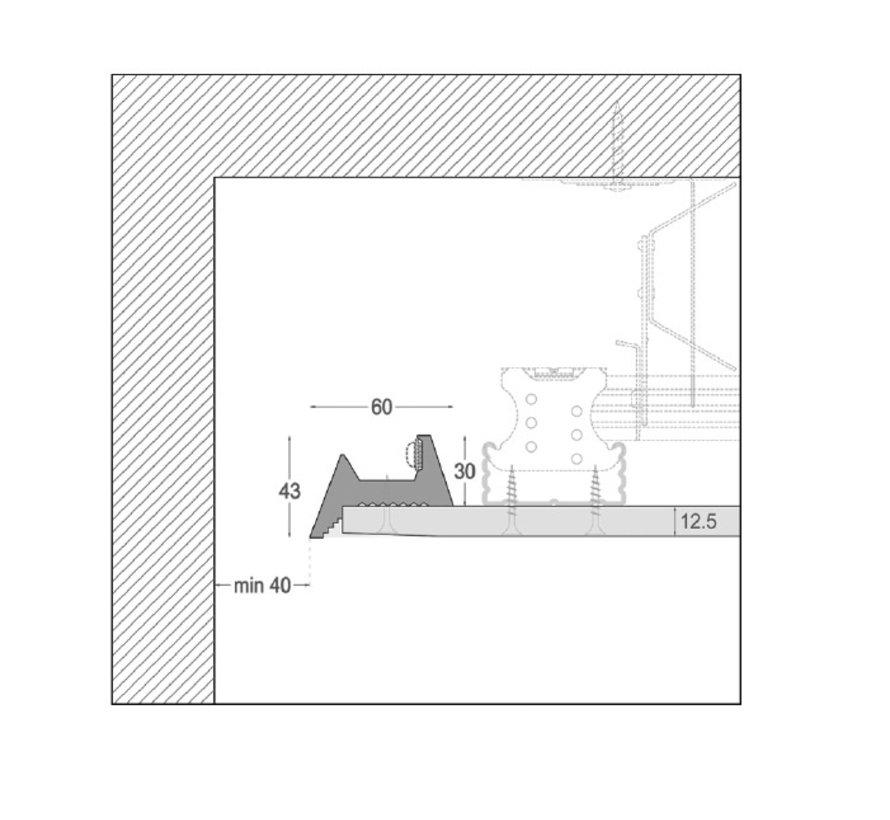Akro 01 trimless indirect schijnend Led gips profiel 150cm