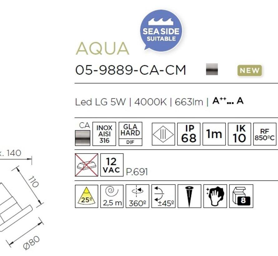 Aqua IP68 spotlight AISI-316 12V-5Watt-25graden
