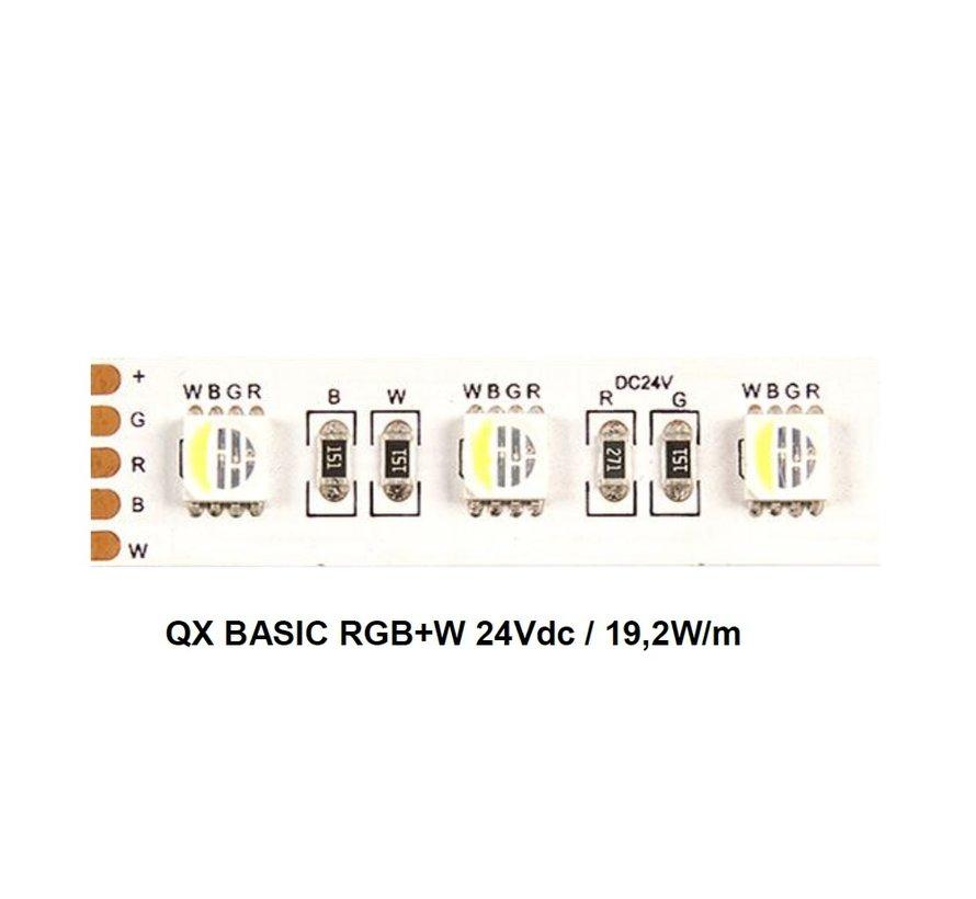 QX Basic 5 mtr 24V-19,2W  RGB+W ledstrip 60 leds/p.mtr