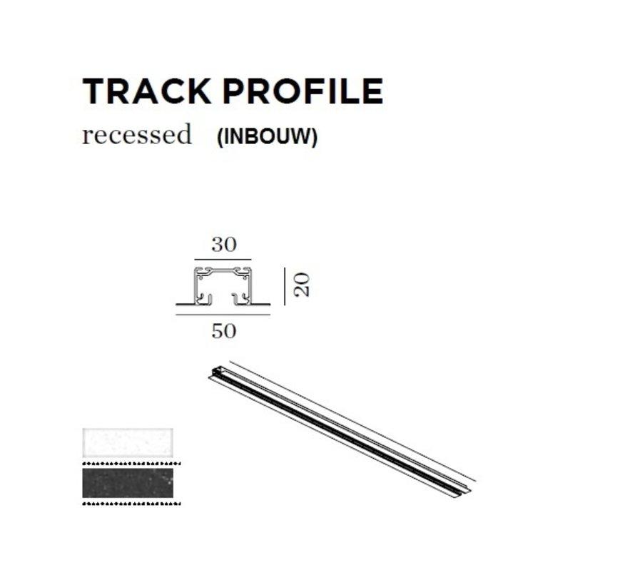 Track 1-fase inbouw  spanningsrail  in wit of zwart
