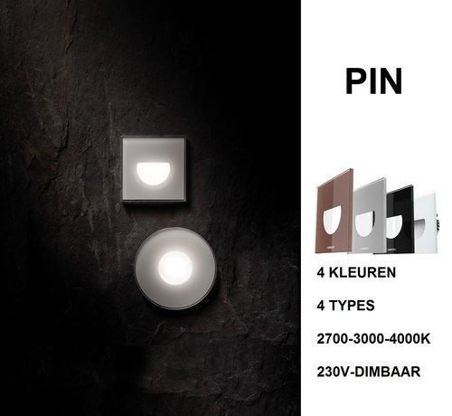 Lombardo Pin Q Asimmetrico led wand inbouw 2Watt 230Volt dimbaar IP66
