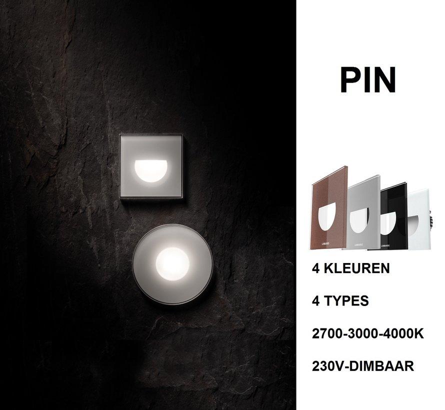 Pin Q Asimmetrico led wand inbouw 2Watt 230Volt dimbaar IP66