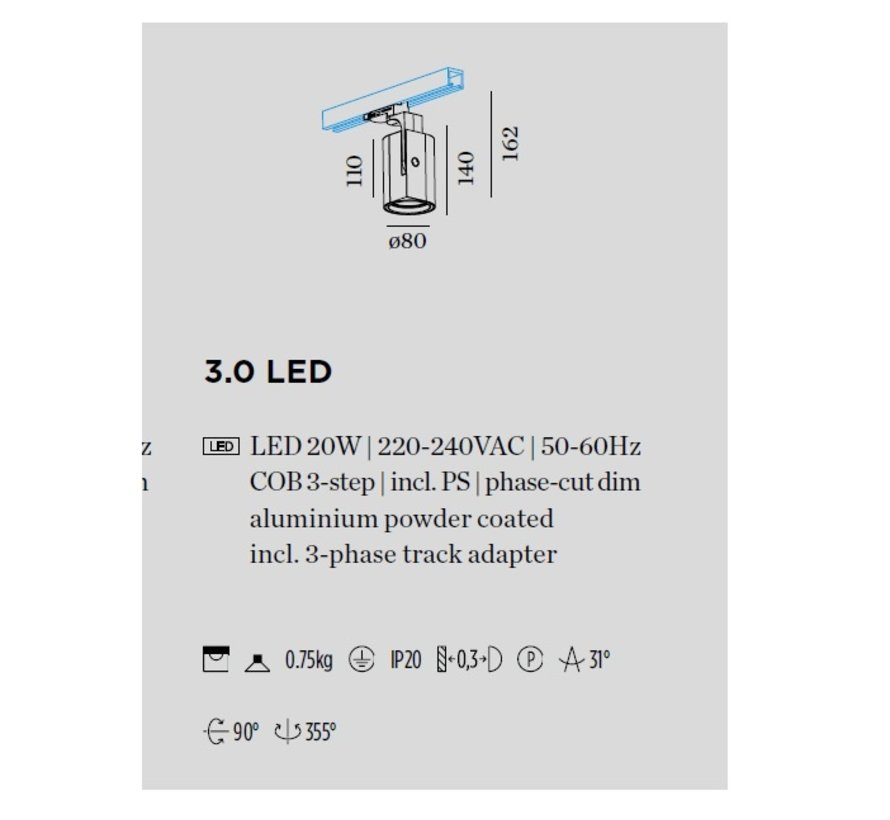Sqube on track 3.0 Led 20Watt - 3-phase, dimmable