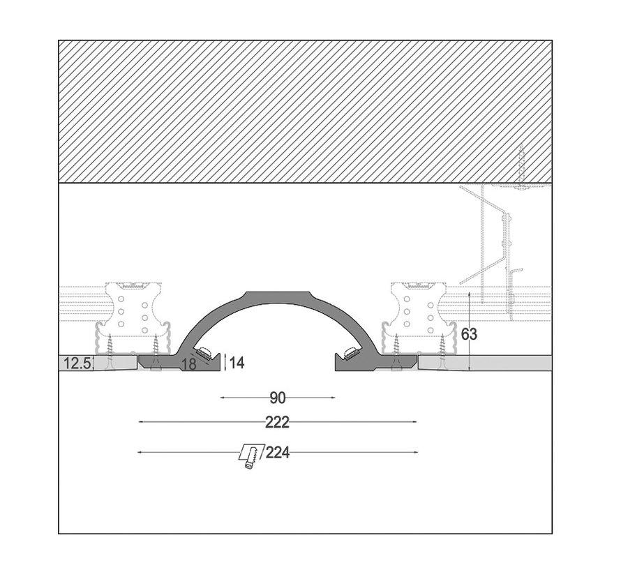 Arc 01 trimless indirect schijnend Led gips profiel 150cm