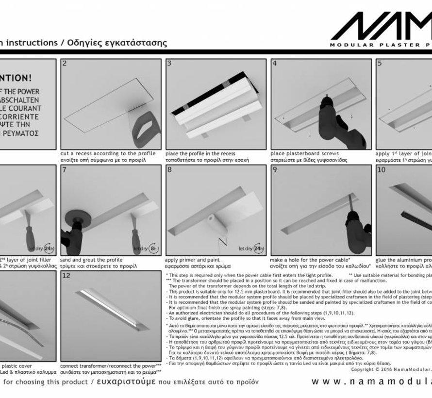Orio 03  modulair trimless hoekstuk ledstrip aan binnenzijde