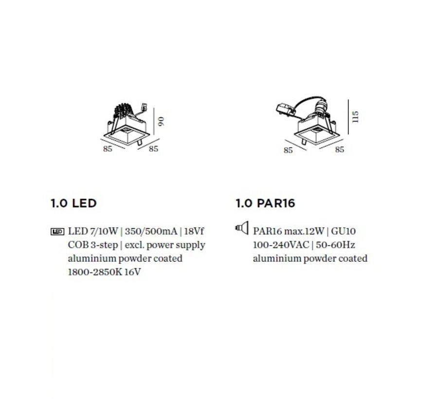 Plano 1.0 richtbare LED inbouwspot in 4 kleuren