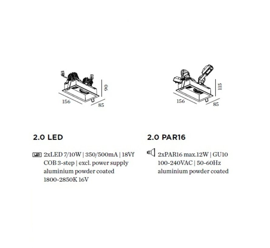 Plano 2.0 double orientable LED recessed spot