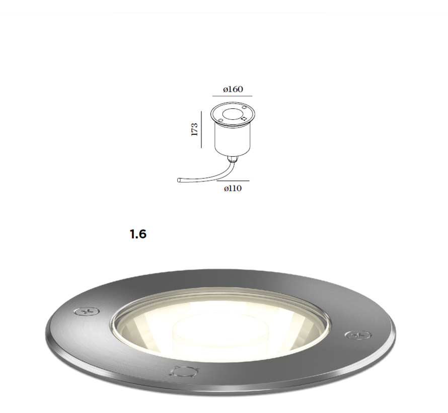 MAP outdoor recessed spotlight stainless steel, 3000K dimmable